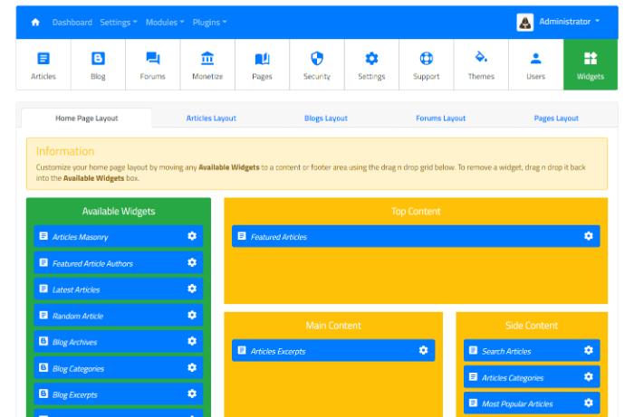 Article Directory Script ~ Widgets Management Module